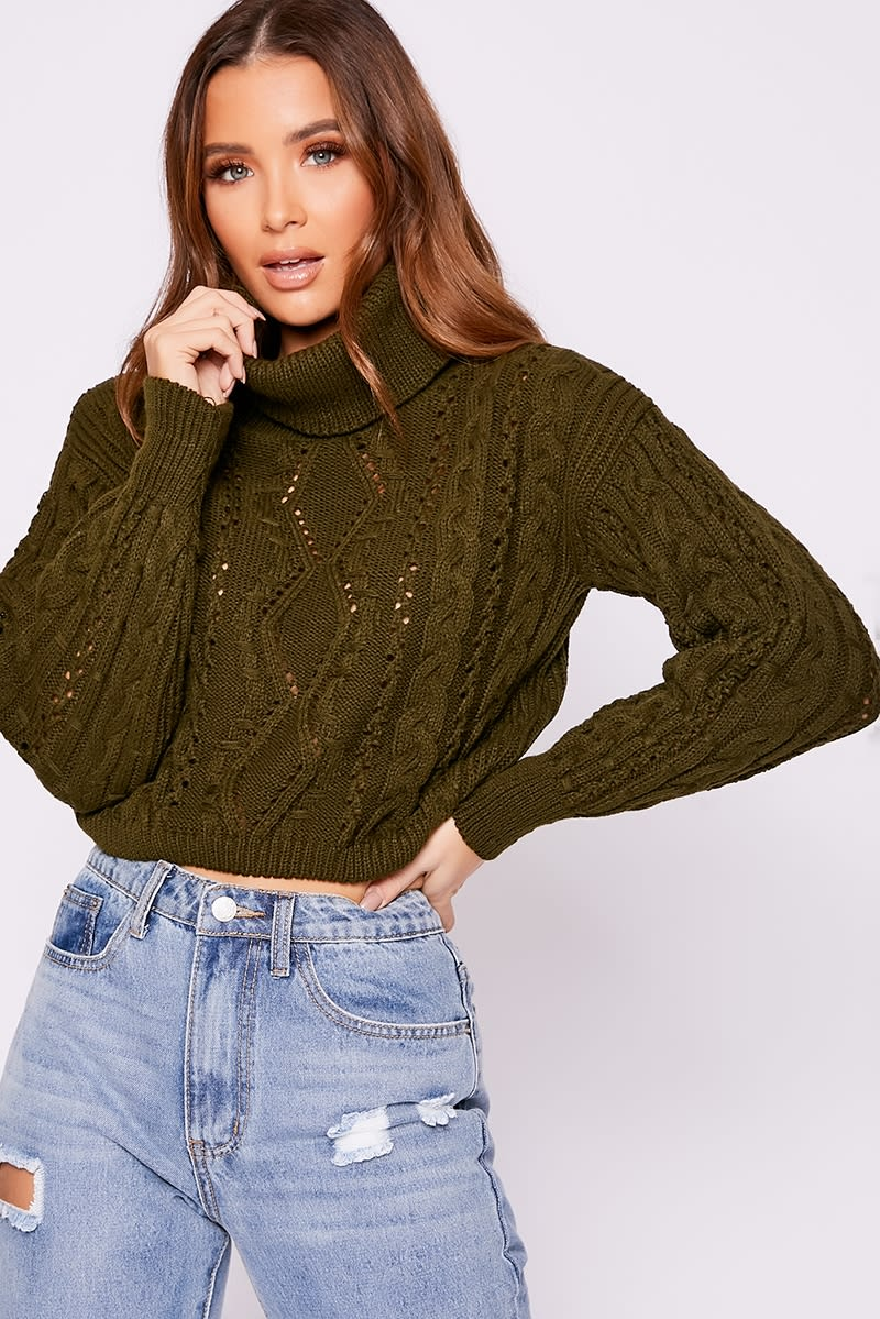khaki roll neck cable knit jumper