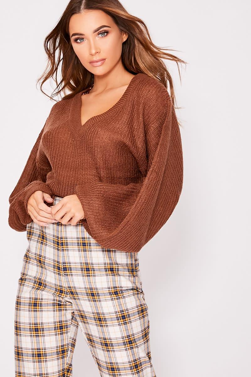 mocha v neck balloon sleeve knitted jumper