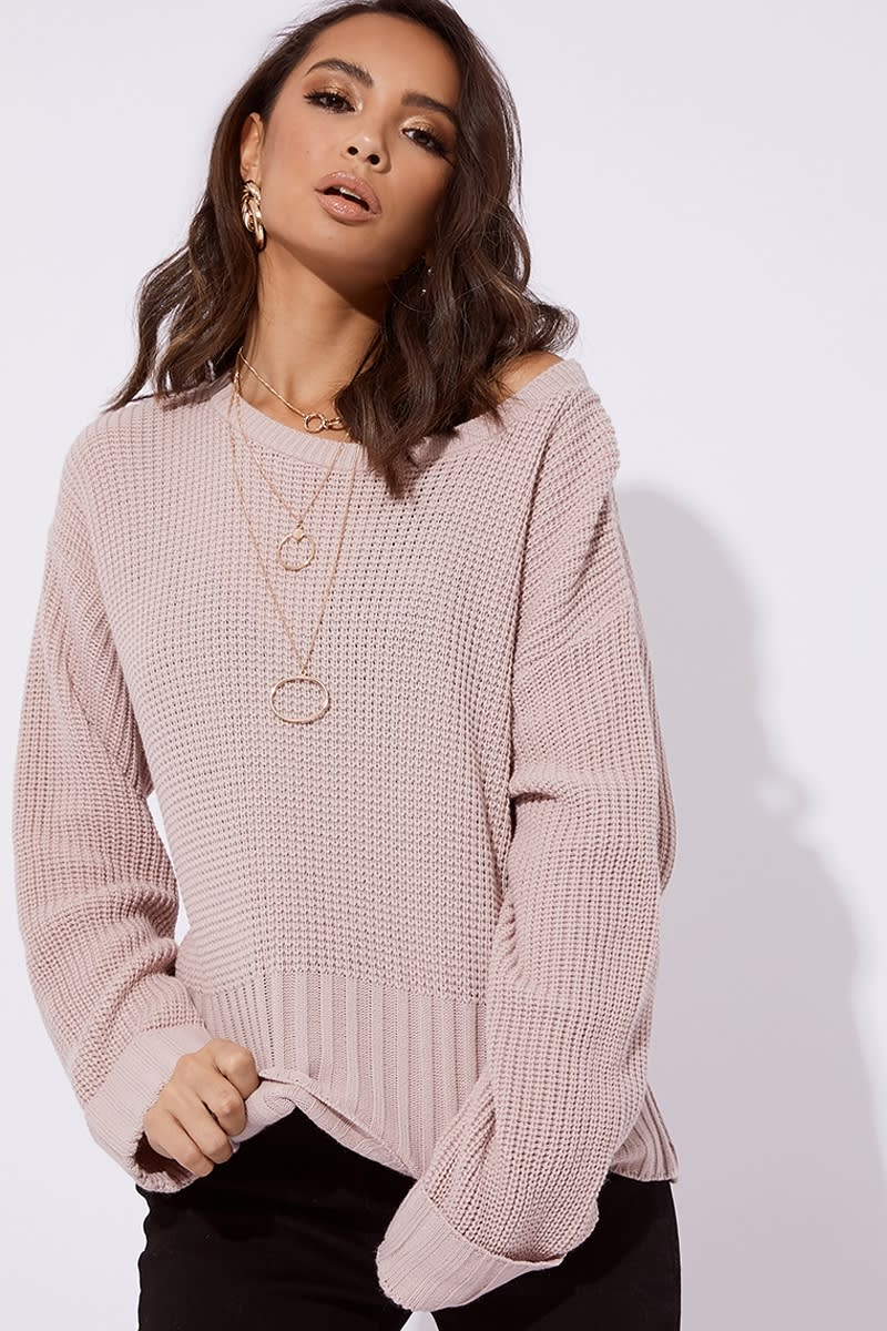 nude ribbed crew neck oversized jumper