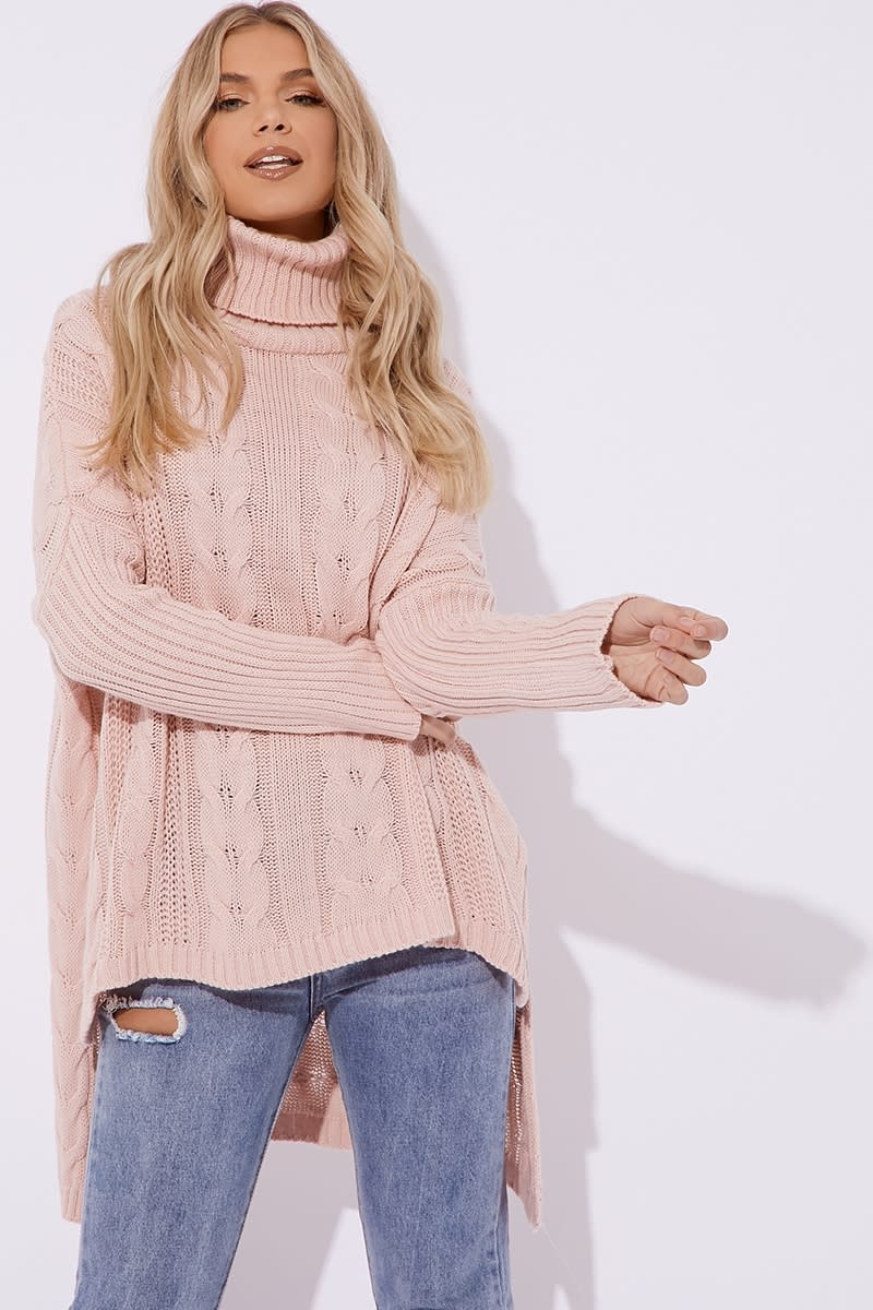 pink cable knit oversized jumper