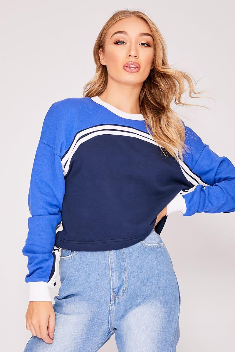 blue colour block stripe sweater