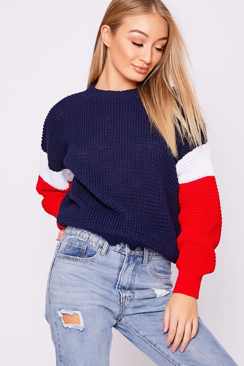 navy colour block jumper