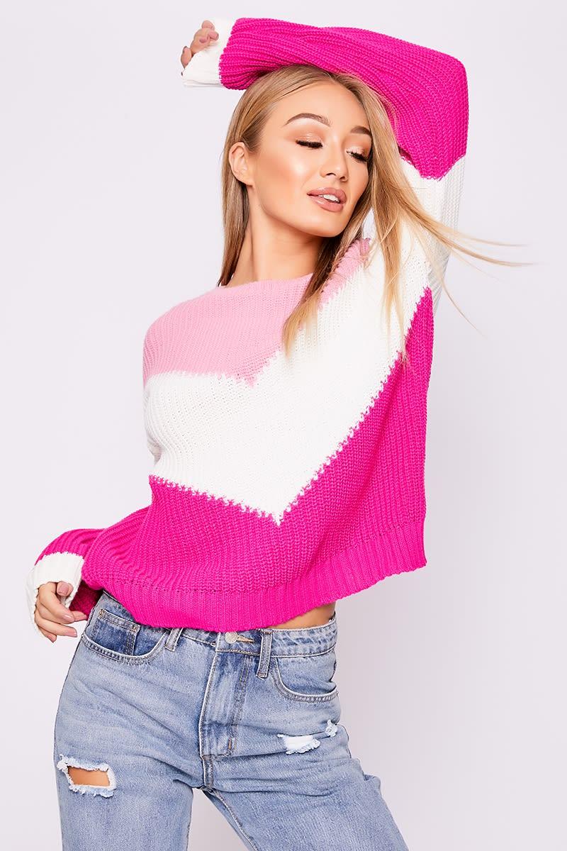 pink chevron colour block jumper