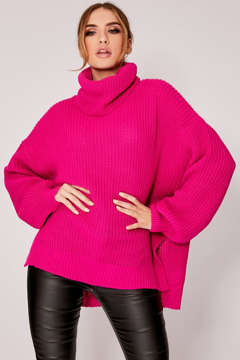 bright pink roll neck oversized knitted jumper