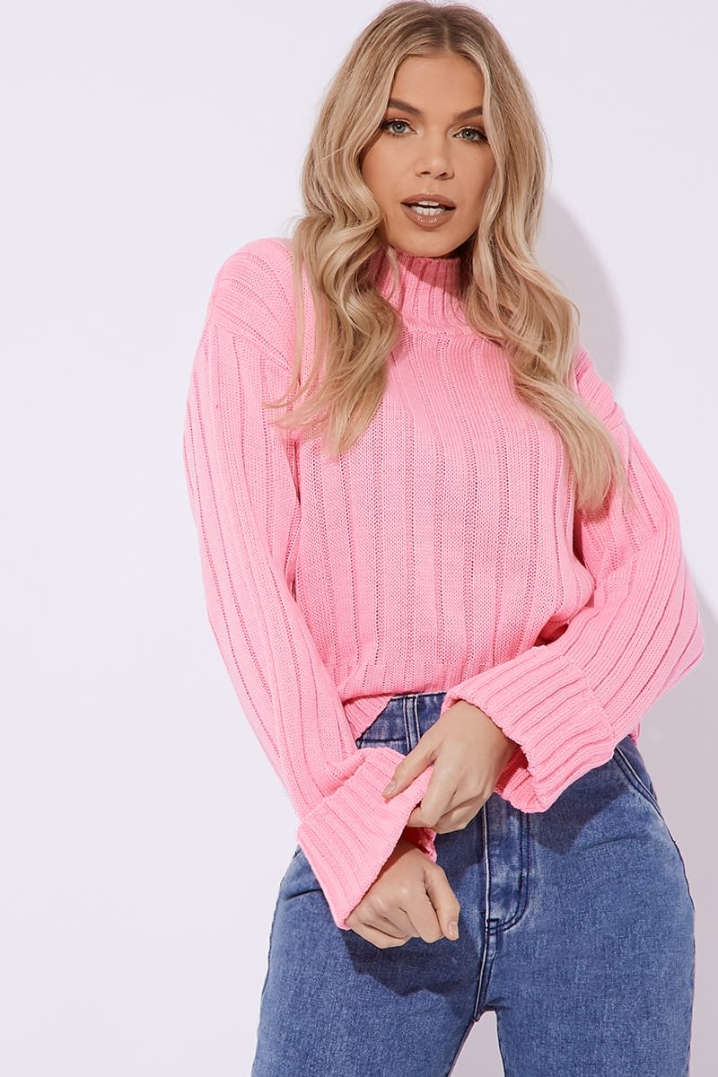 pink chunky knit high neck jumper