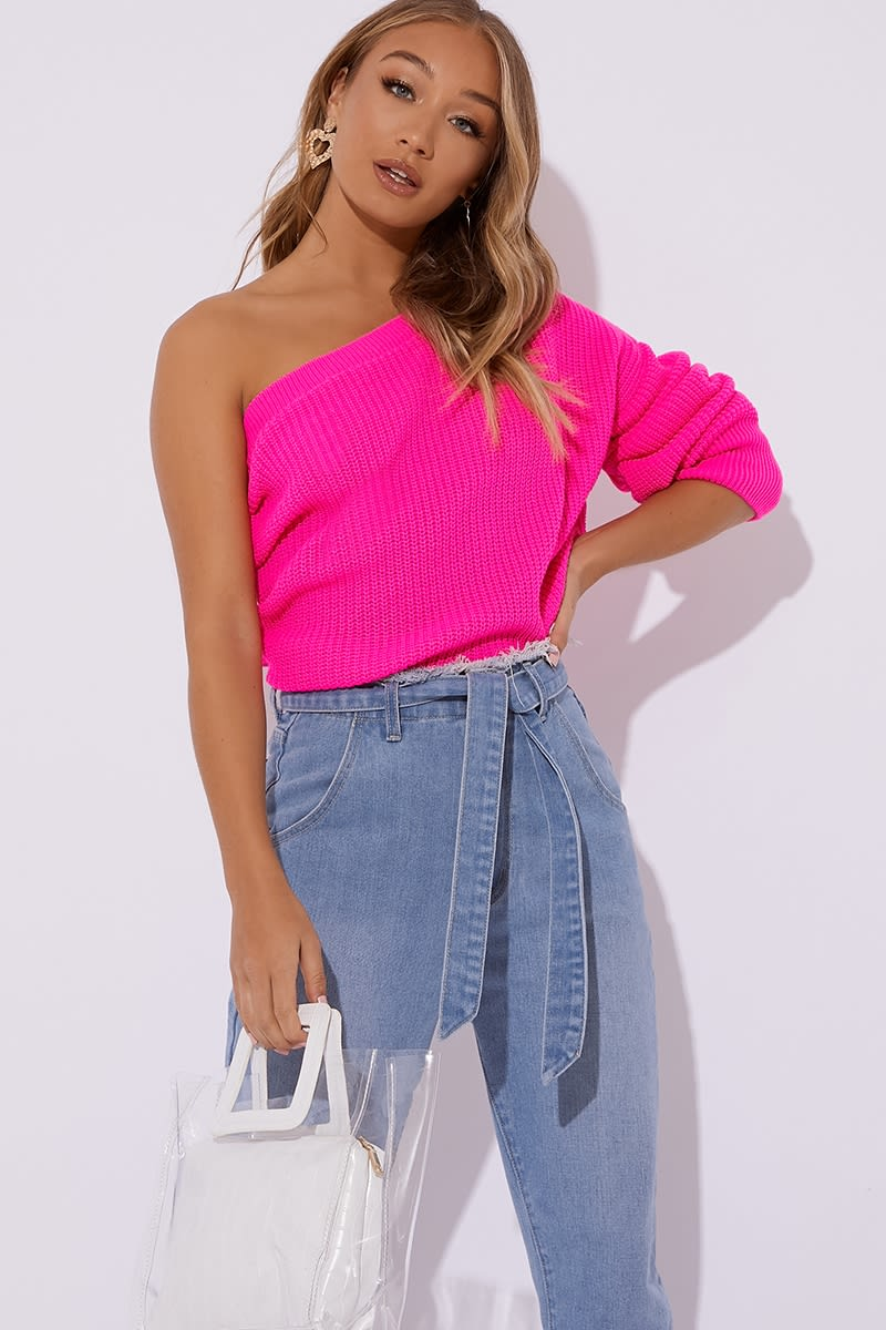 bright pink one shoulder knitted jumper