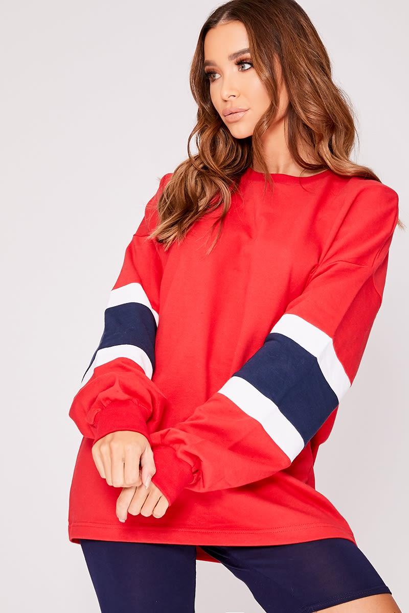 red colour block oversized stripe jumper