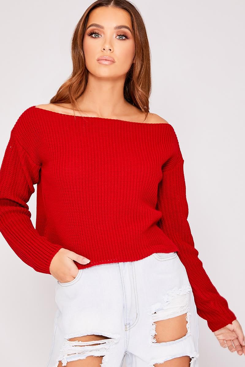 red slash neck cropped knitted jumper