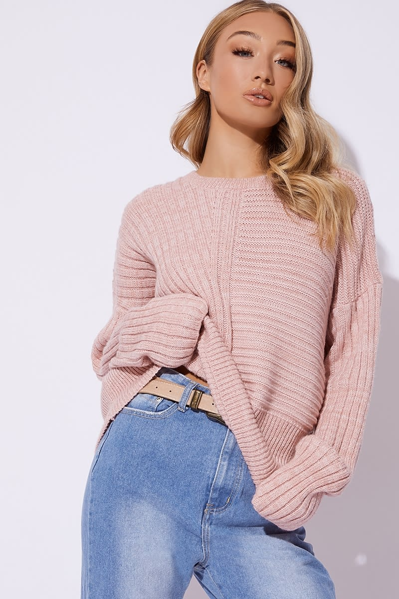 rose asymmetric rib knitted jumper