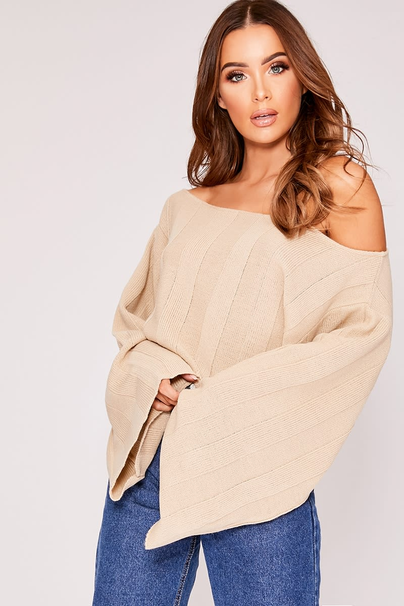 KYRA STONE WIDE SLEEVE OFF THE SHOULDER JUMPER