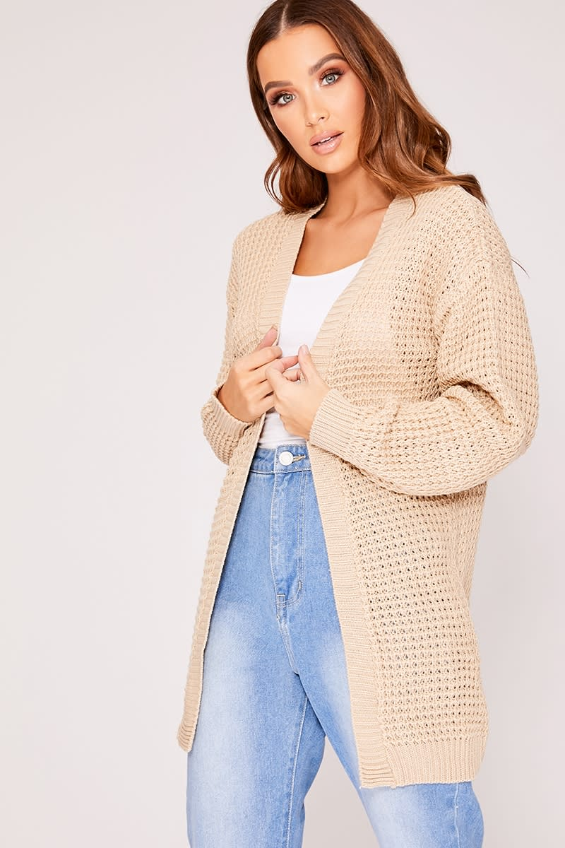 BASIC STONE LONGLINE KNITTED CARDIGAN