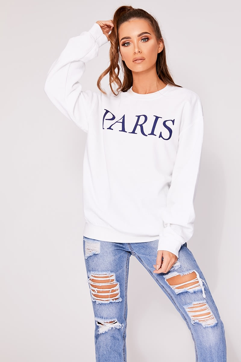 KIARA WHITE PARIS SLOGAN OVERSIZED SWEATER