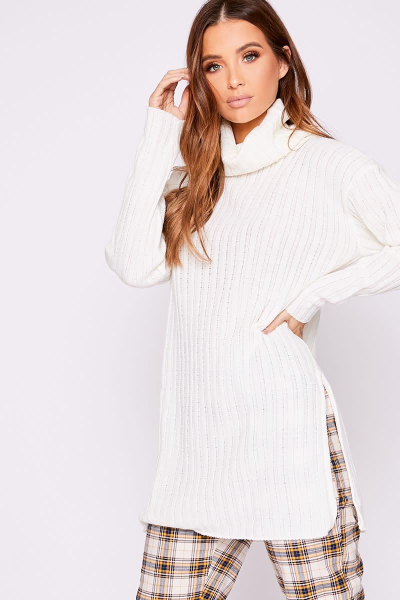 white oversized cowl neck jumper