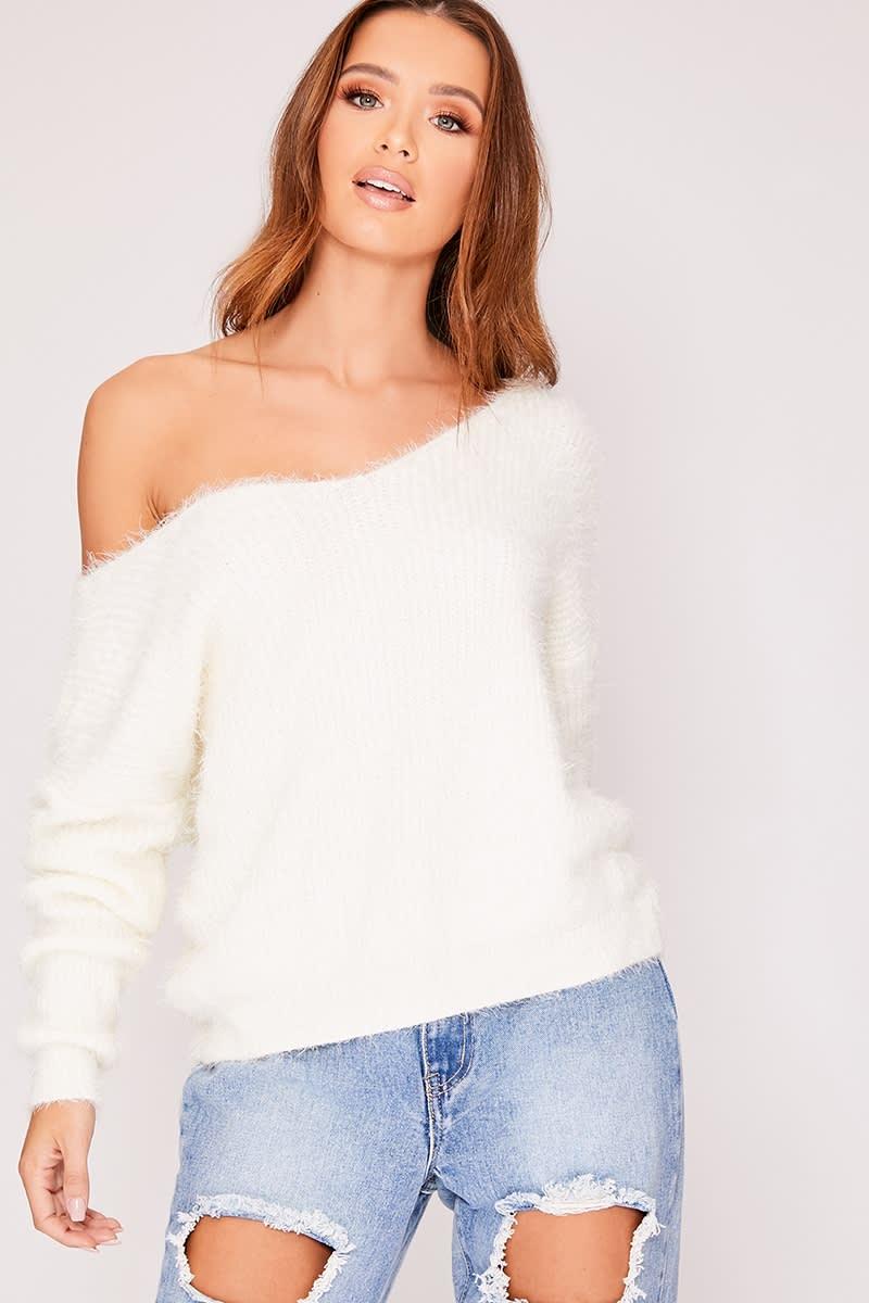 white super fluffy twist back jumper
