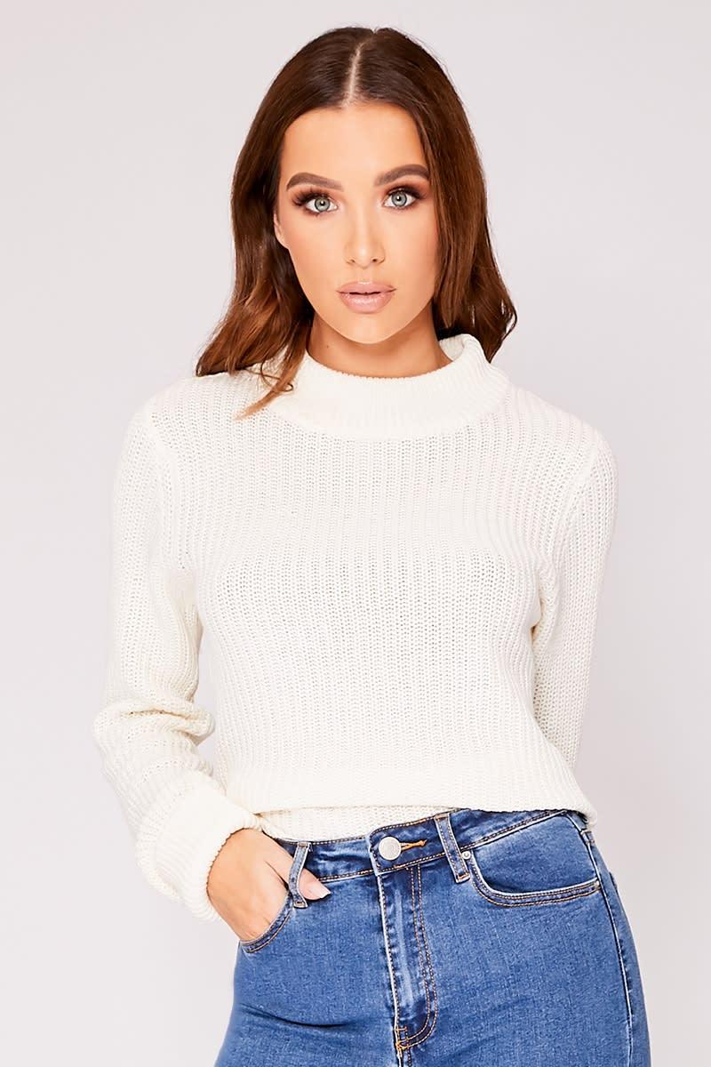 white crew neck knitted jumper