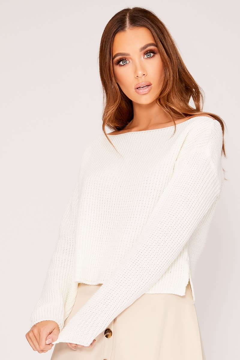 LYNITA WHITE SLASH NECK CROPPED KNITTED JUMPER