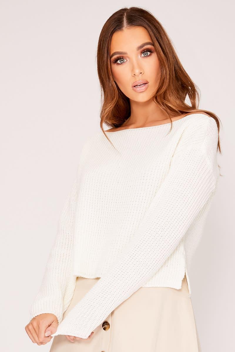 white slash neck cropped knitted jumper