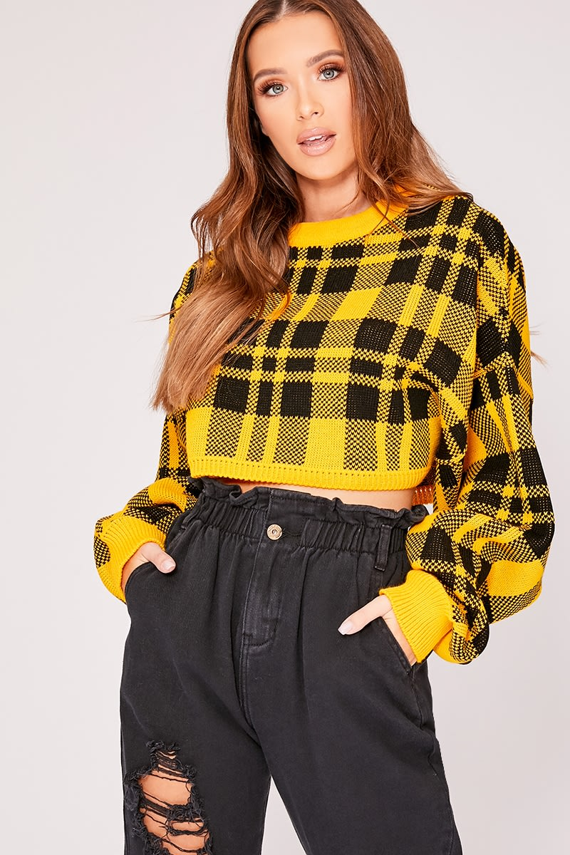 yellow checked cropped jumper