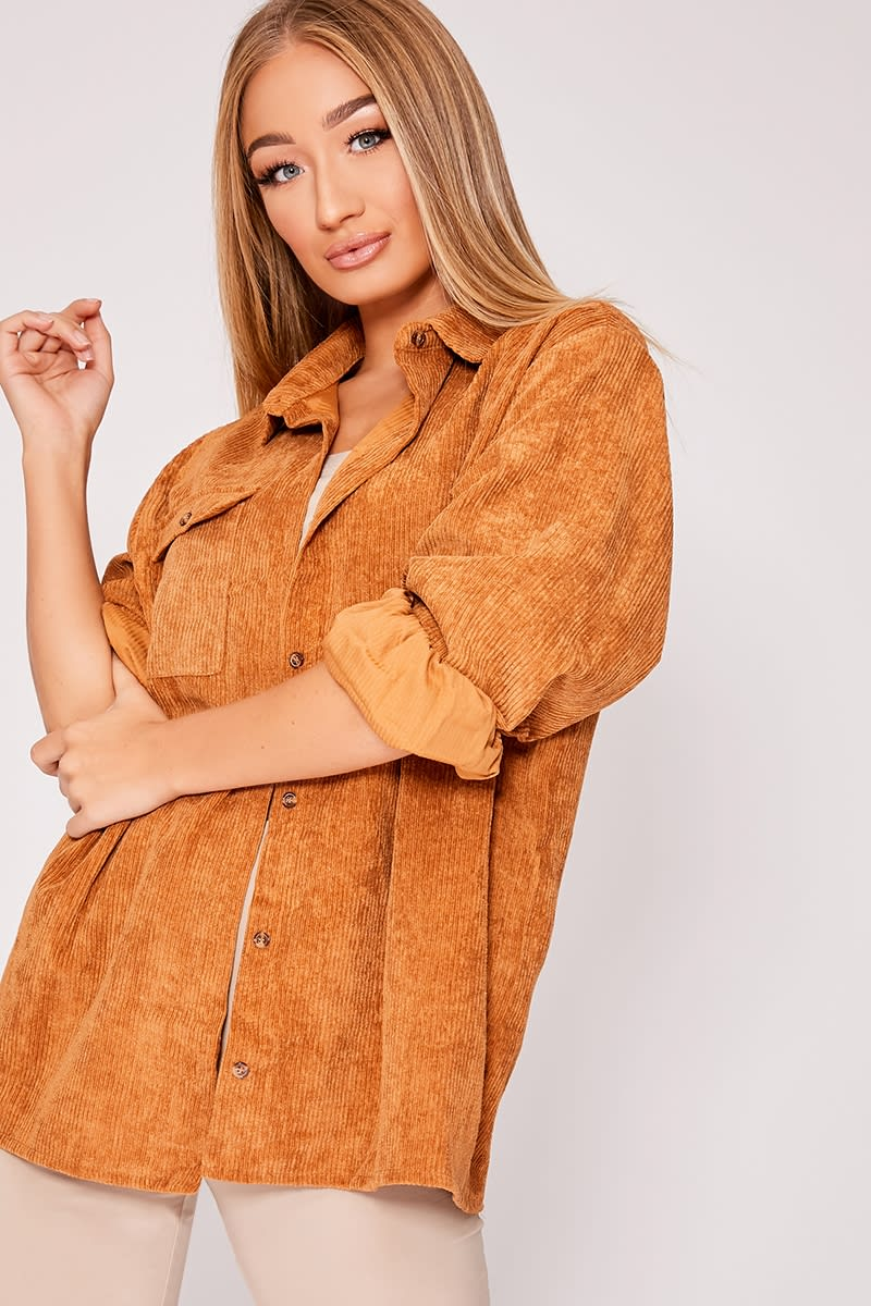 brown corduroy oversized shirt