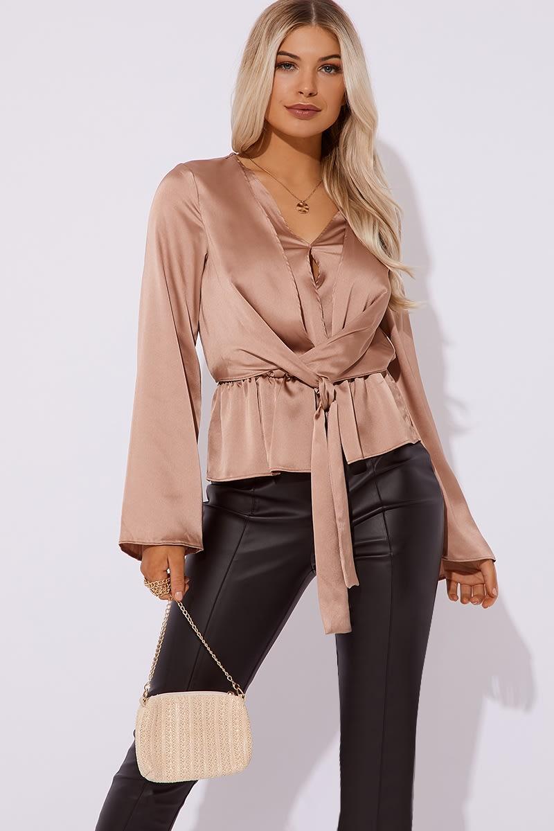 camel tie front blouse