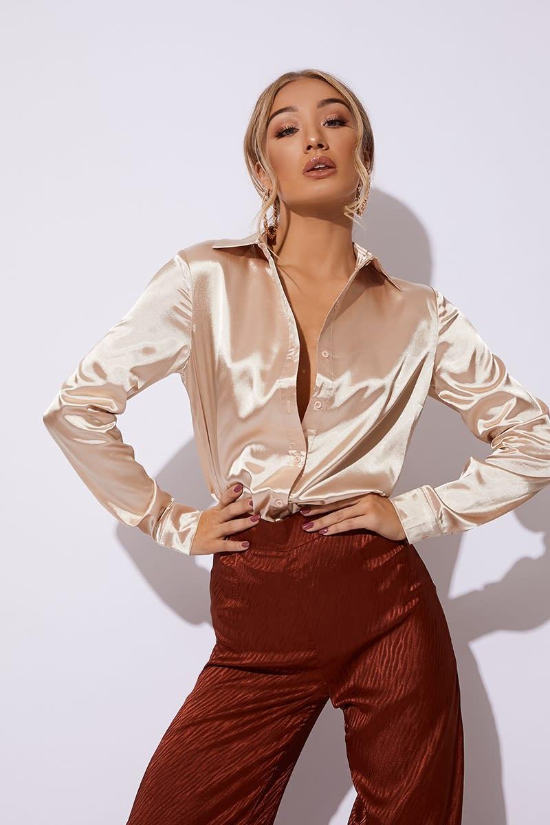 gold satin oversized shirt