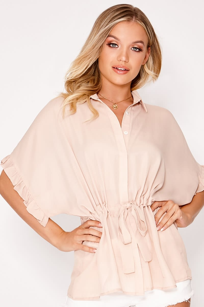 LAASIA BLUSH BUTTON DOWN TIE WAIST TOP