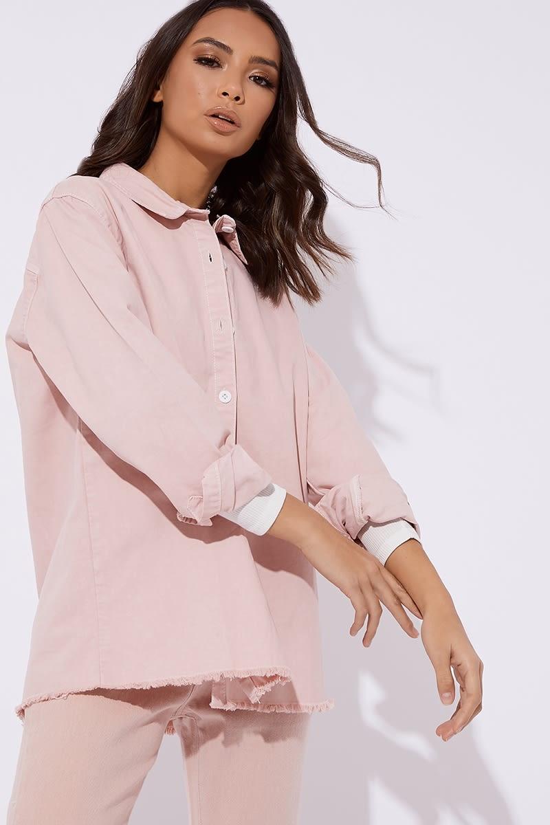 pink distressed hem oversized denim shirt