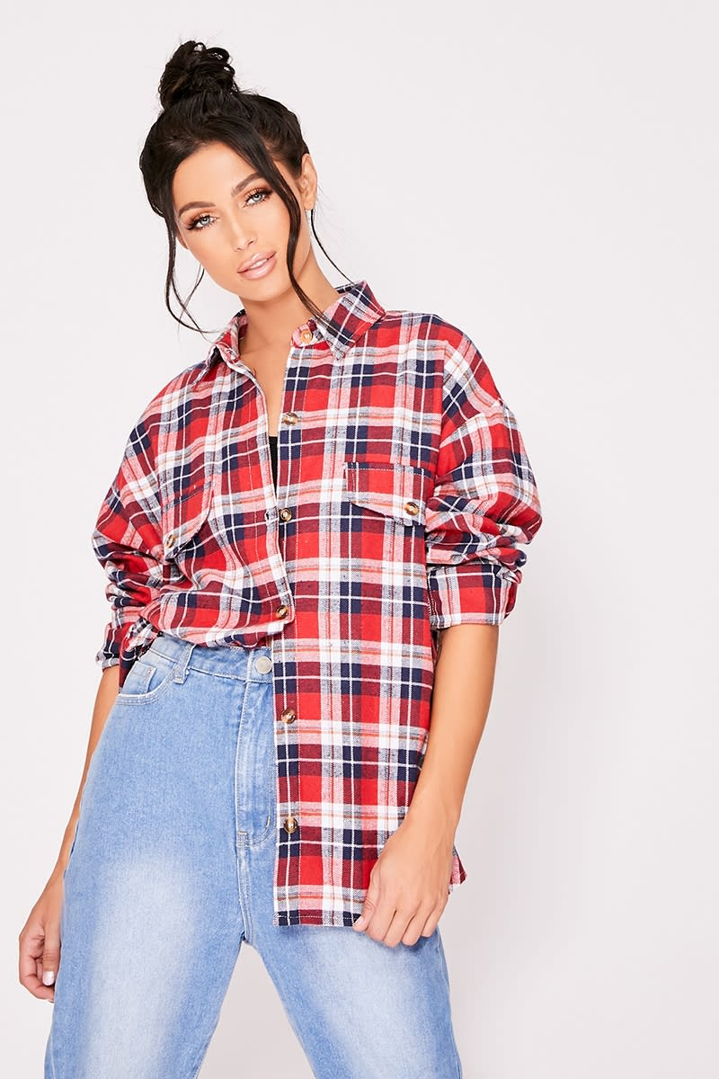 red checked oversized shirt
