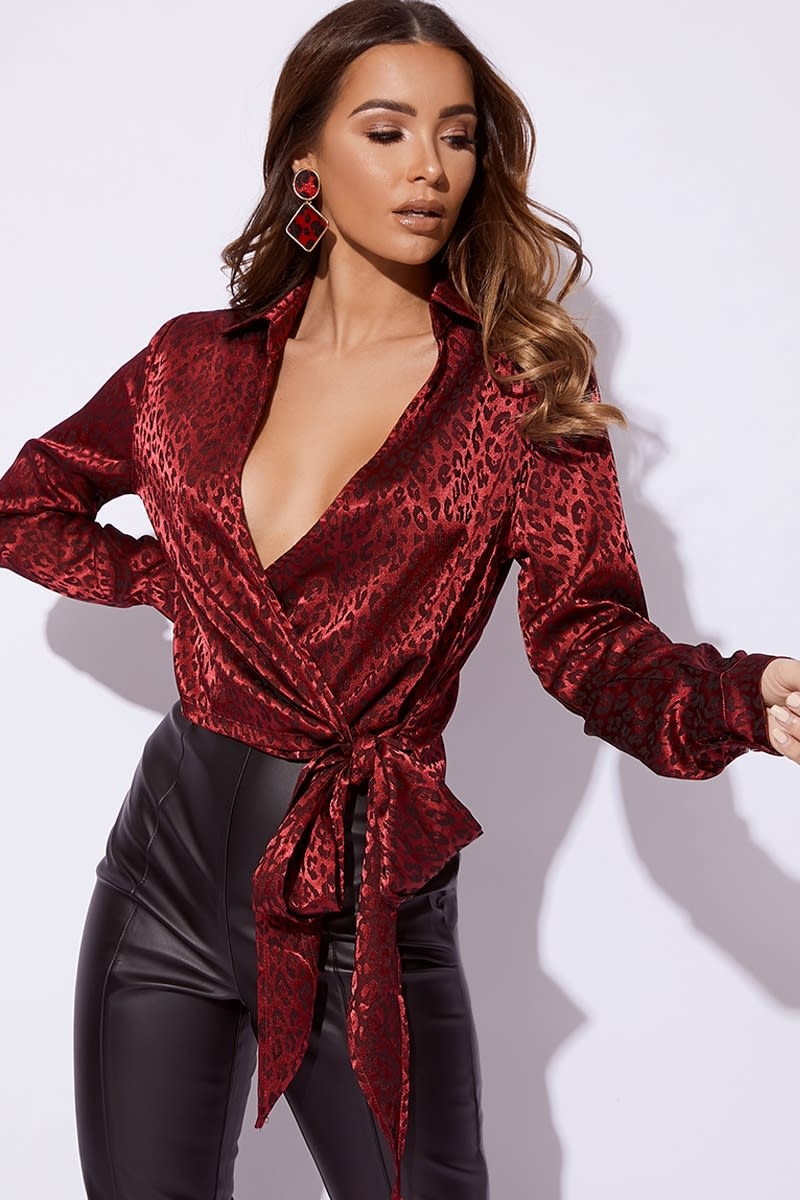 wine wrap front tie side shirt