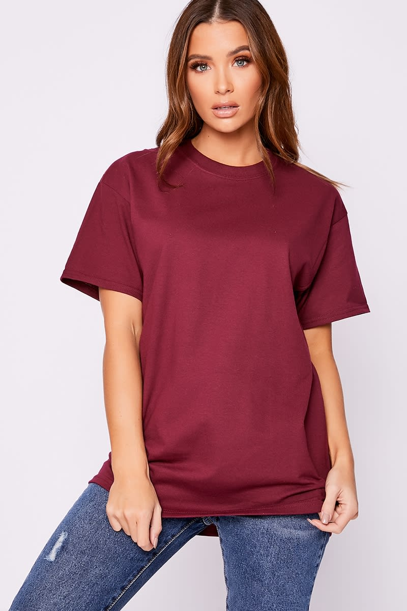 BASIC BURGUNDY OVERSIZED T SHIRT