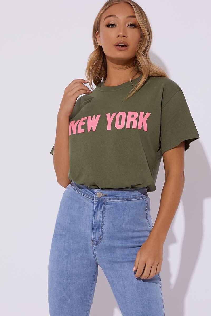 khaki new york slogan t shirt