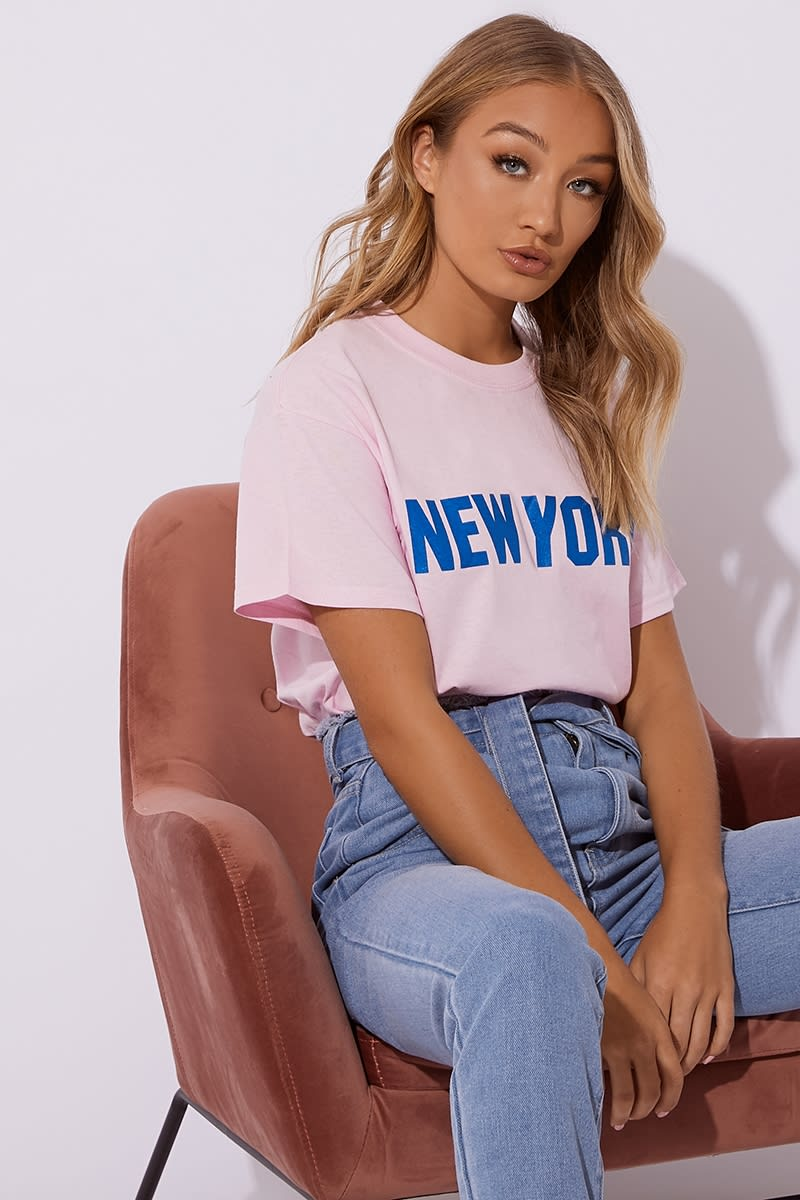 pink new york slogan t shirt