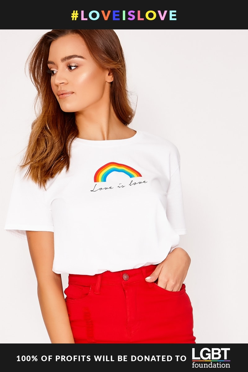 PRIDE RAINBOW OVERSIZED WHITE T SHIRT