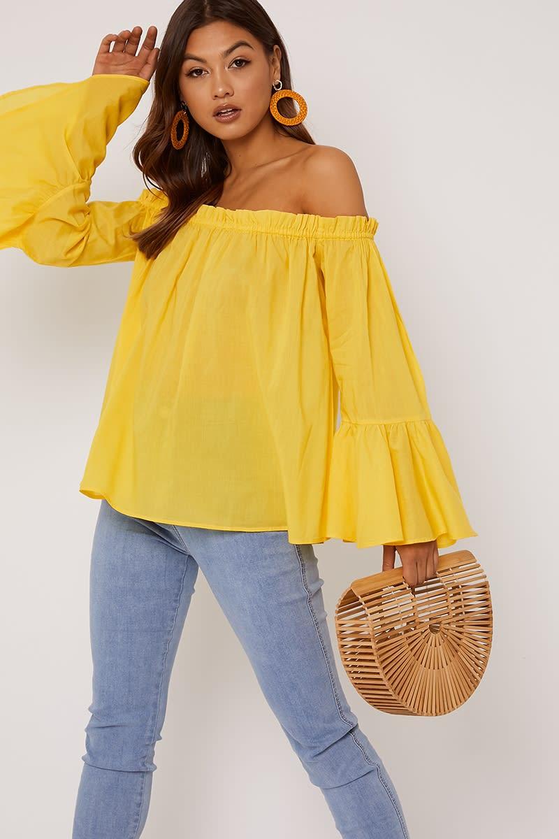 yellow cotton bardot top