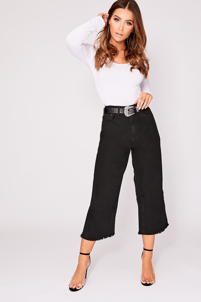OULA BLACK DENIM RAW HEM CULOTTES