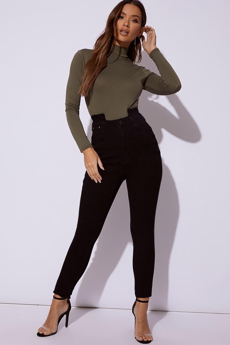 black denim cut out waist skinny jeans