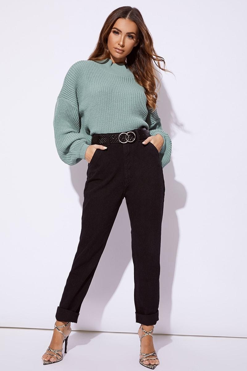 black denim seam detail jeans