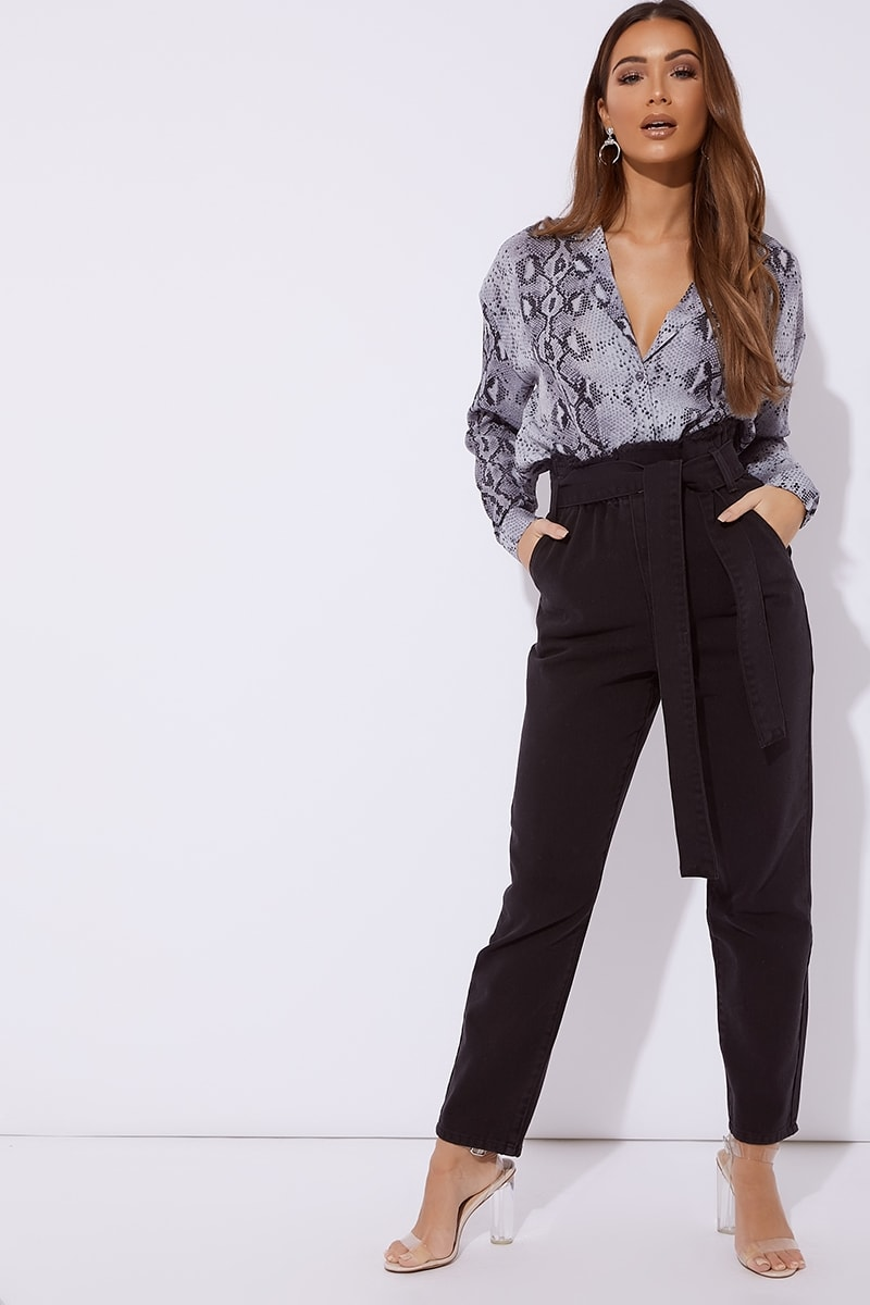 black denim paperbag tie waist mom jeans
