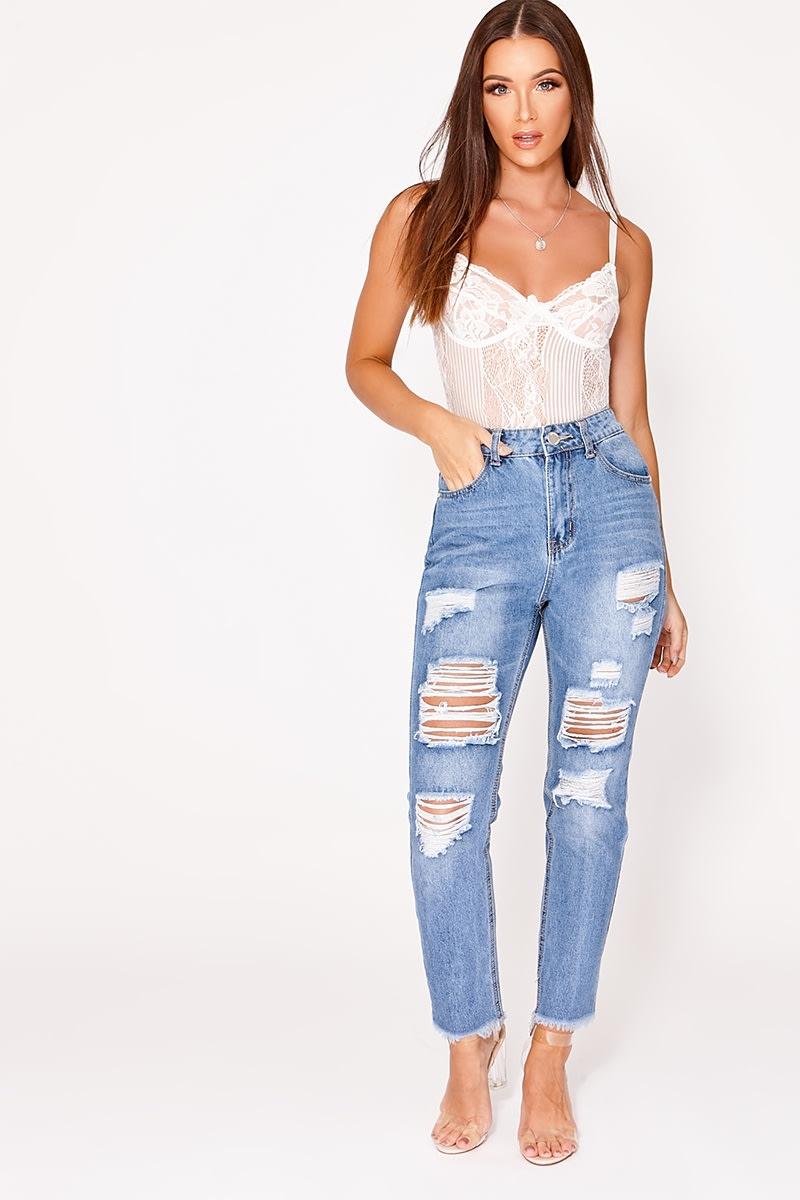 blue multi rip frayed hem mom jeans