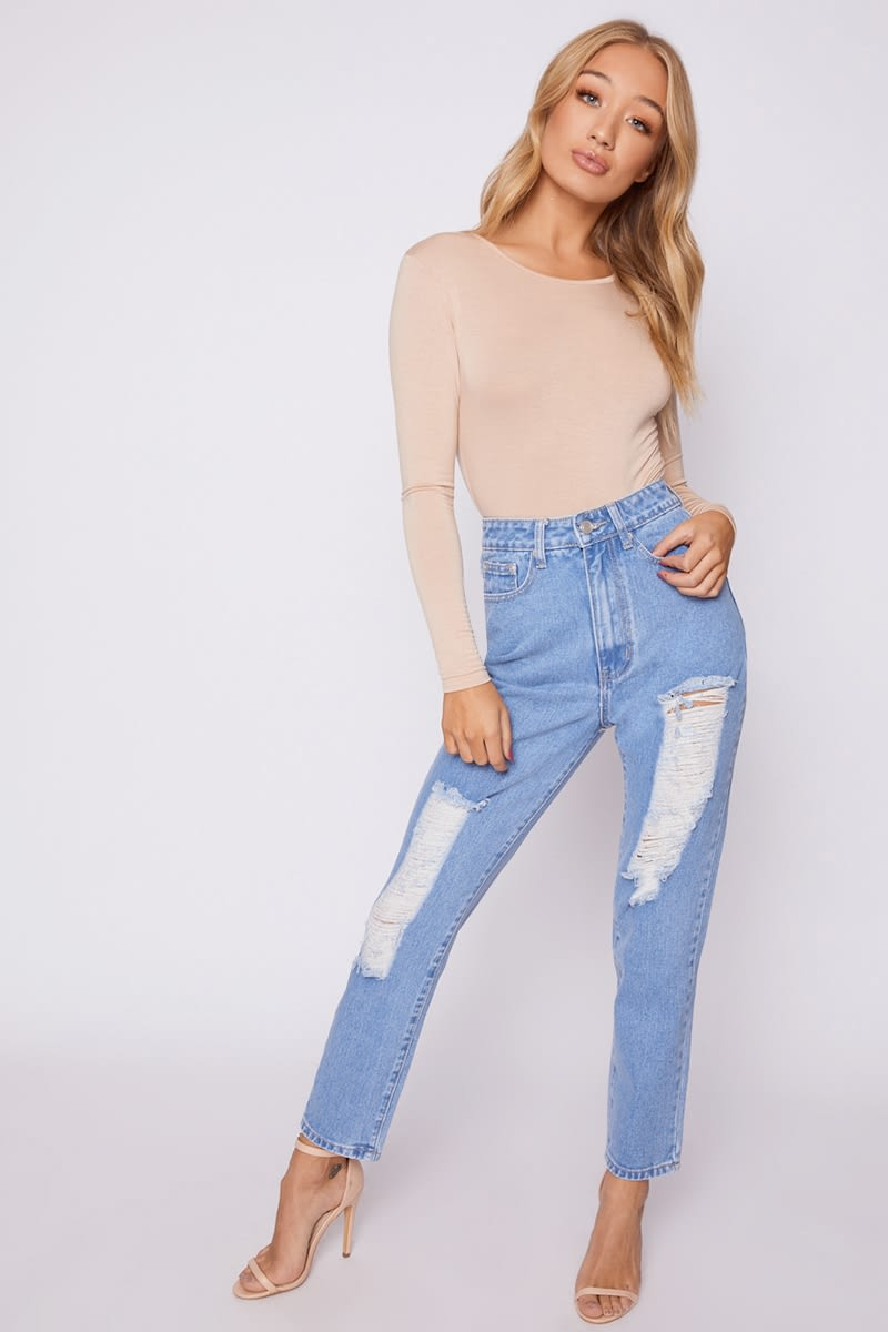 blue denim double distressed mom jeans
