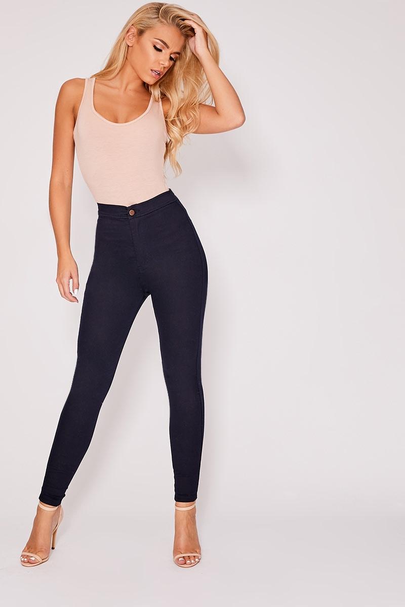 indigo denim super high waisted tube jeans