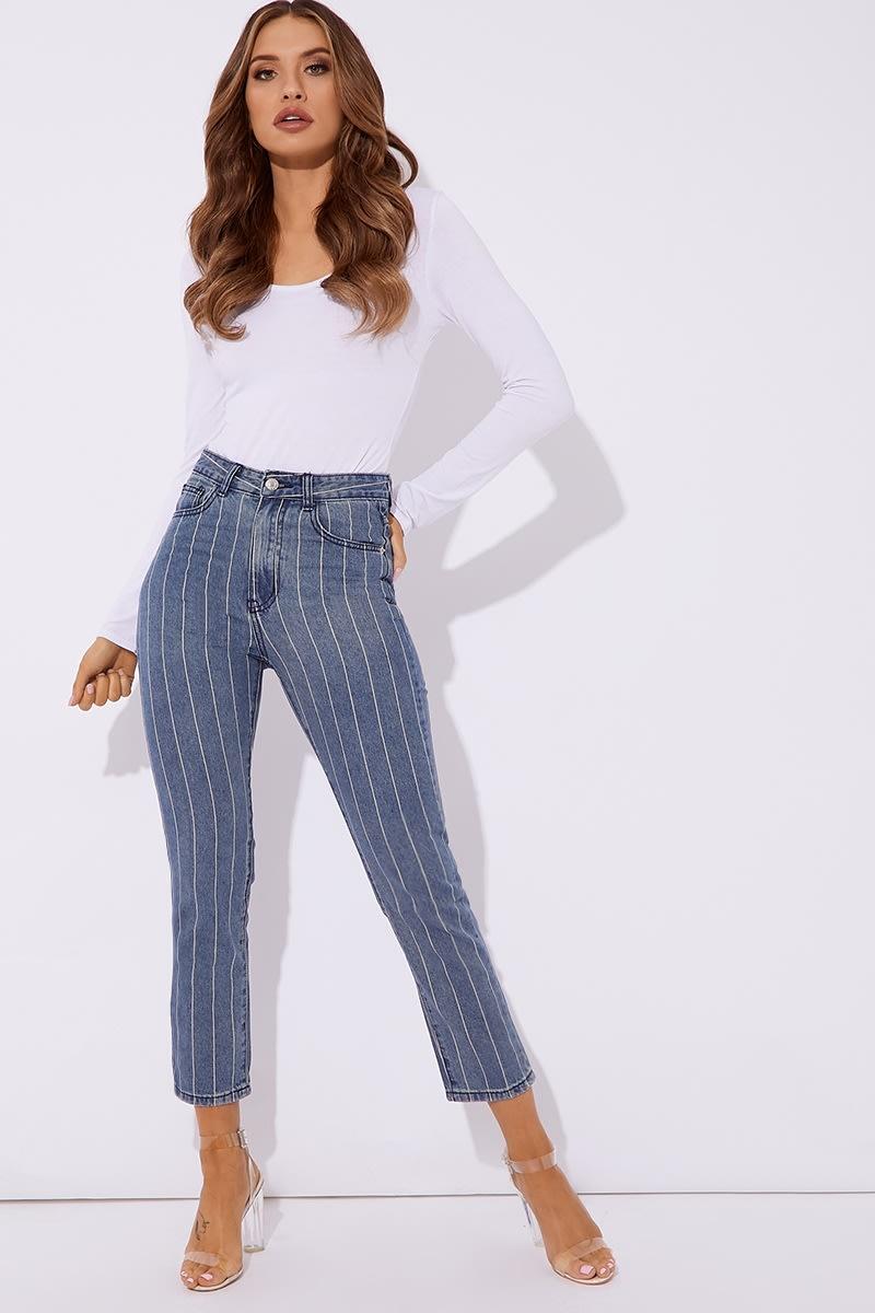 blue pinstripe jean