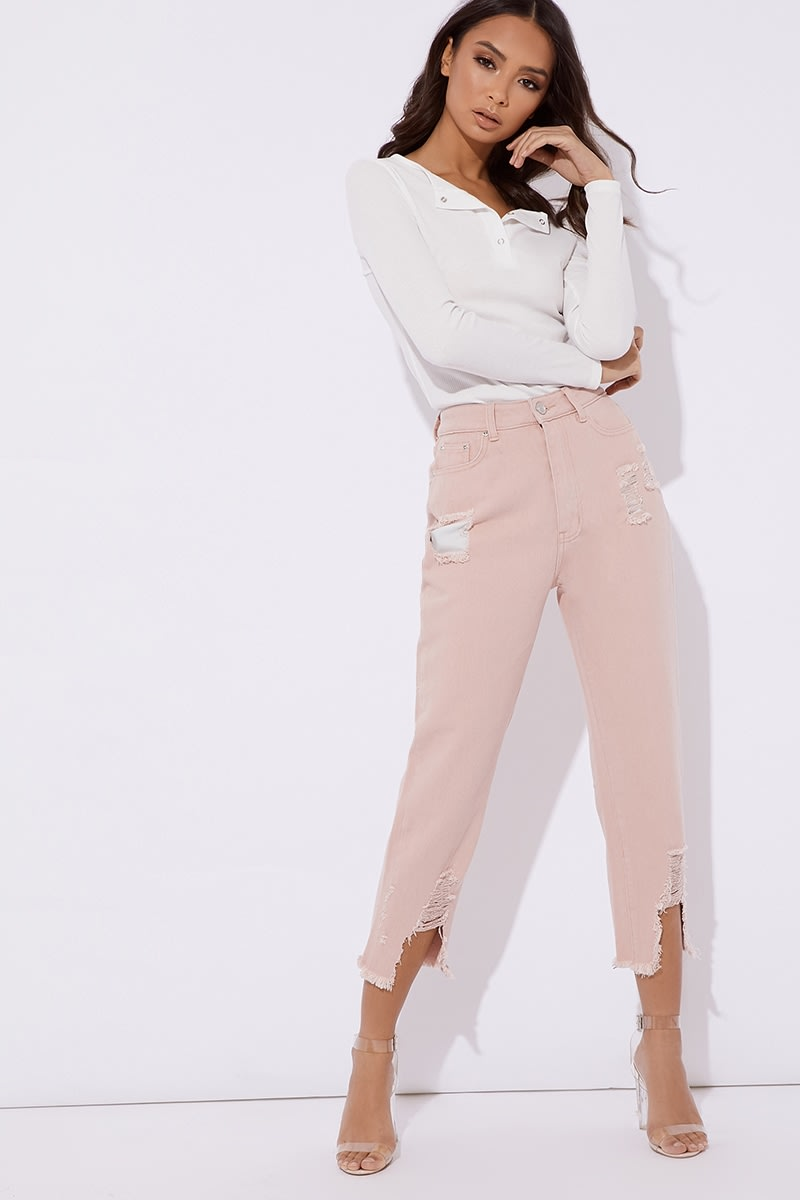pink high waisted jeans