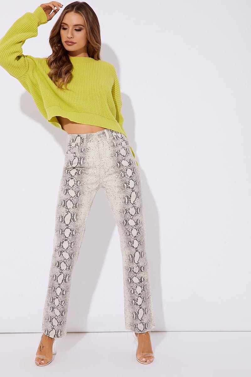 white snake print jean