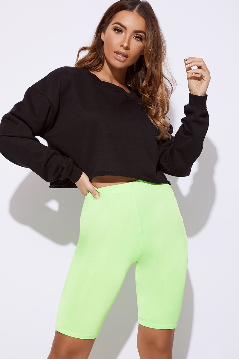 neon lime co-ord cycling shorts