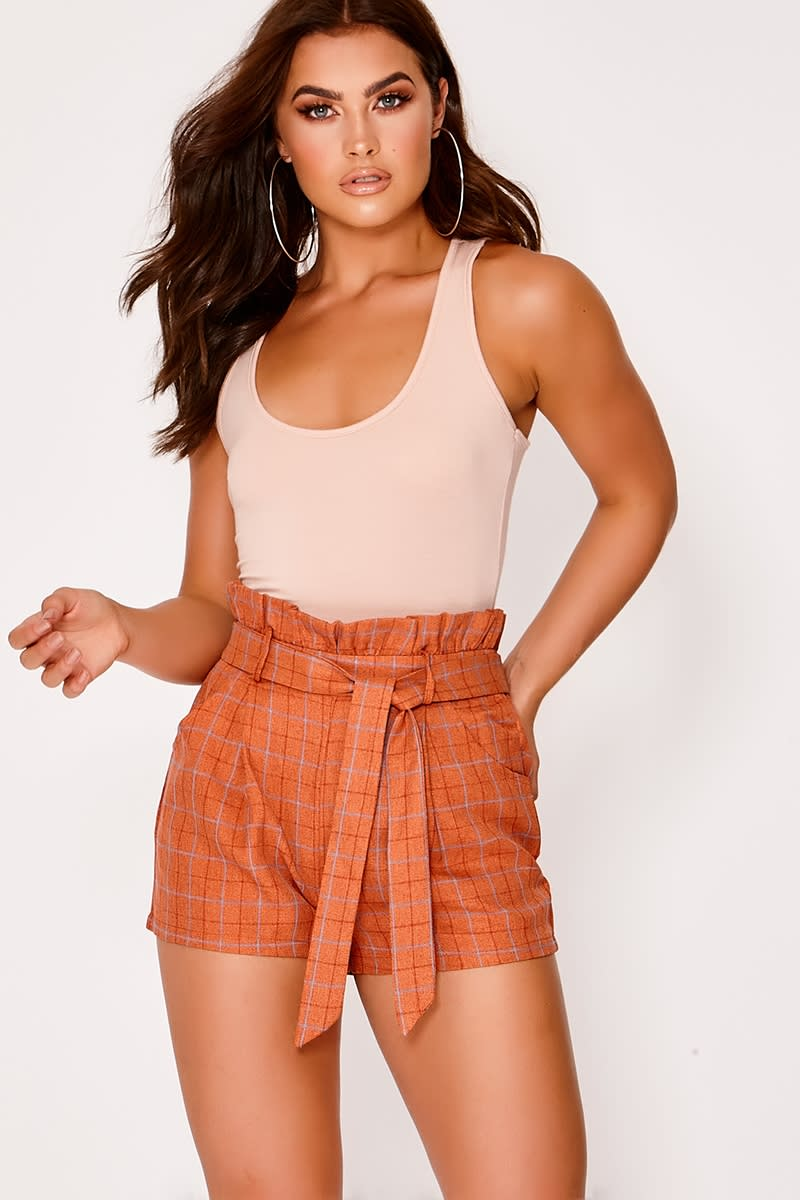 burnt orange checked paperbag shorts