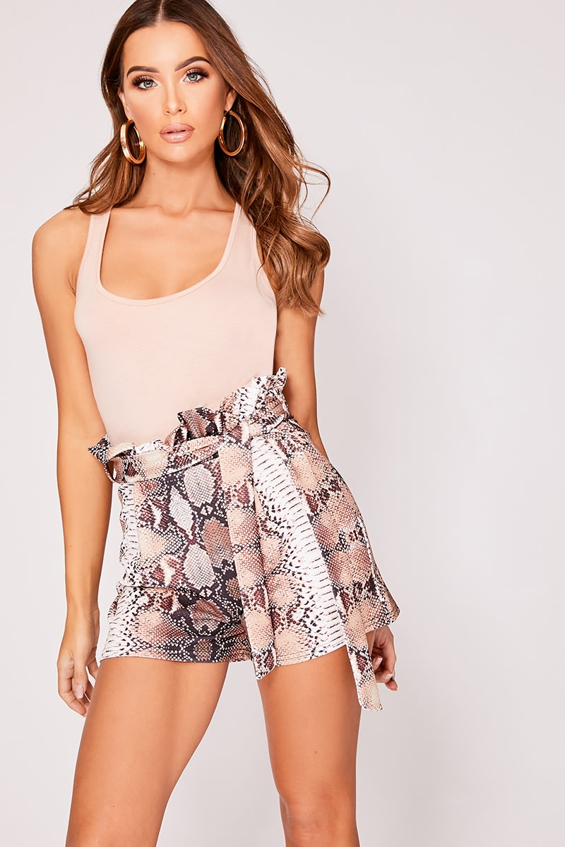 brown snake print paperbag tie waist shorts