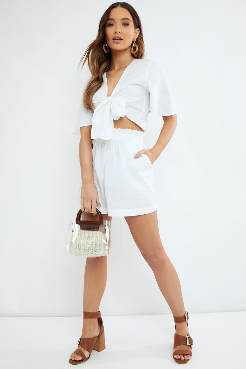 white cotton paperbag waist co ord shorts