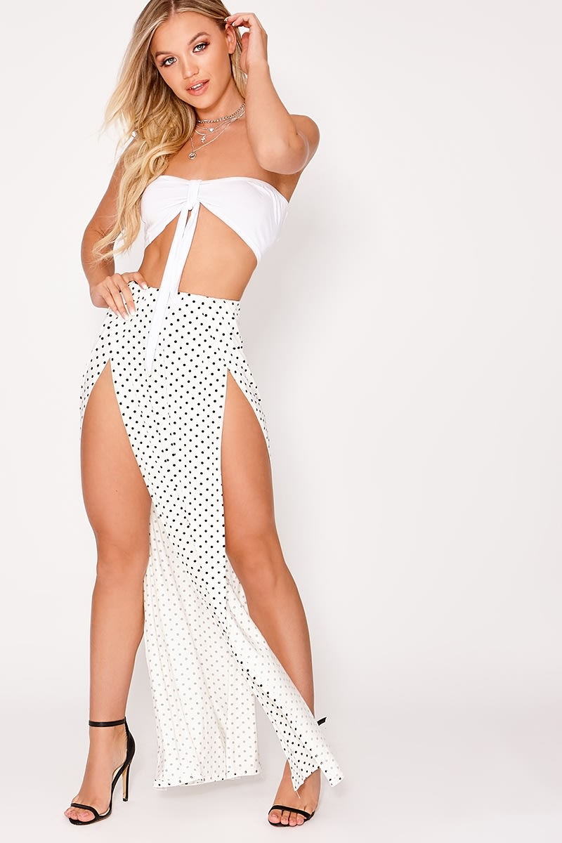 basic black and white polka dot front split maxi skirt