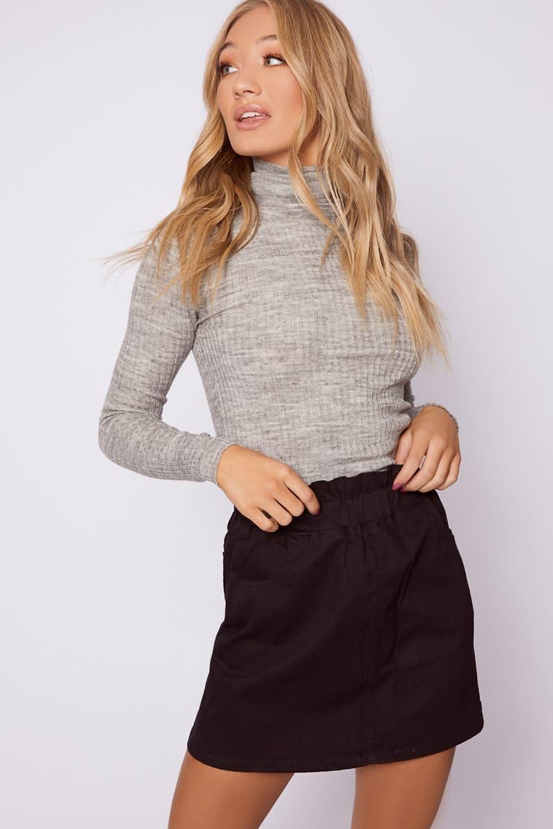 black paperbag waist denim mini skirt
